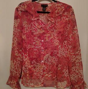 ~Cute floral button up blouse w tank under it Sz16
